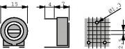 Potm trimmer 250K horizontal - Piher PT15