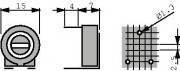 Potm trimmer 1M horizontal - Piher PT15