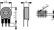 Potm trimmer 250E vertical - Piher PT15