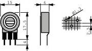 Potm trimmer 2M5 vertical - Piher PT15