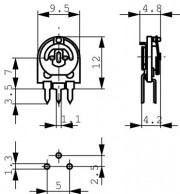1M Potm. 1turn cermet - horizontal 5.08 mm