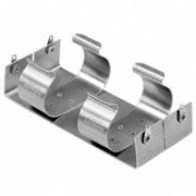 Battery holder aluminium base - plate and RVS holder for 4 x D cell