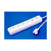 220V 6 x Schuko socket strip - white1.5m no switch