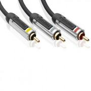 Composiet-AV-kabel 3x RCA male - Technologie met 99,96% zuurstofvrij koper voor ongecomprimeerde videobeelden van superieure