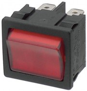 Rocker switch 2p 10A 250VAC on-off neon lamp red - 10 - 4.99 / 100 - 3.99