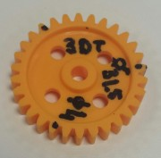 Gearwheel 3mm pitch 30T - Gearwheel Plastic. outside Ø 31,5mm. 30 tooth 2,2mm, 3mm pitch, face width 6mm. shaft 4mm Ø.